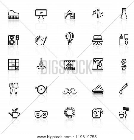 Art Activity Line Icons With Reflect On White Background