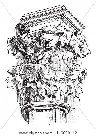 Capital (xiv Century), Carcassonne cathedral, vintage engraved illustration. Dictionary of words and things - Larive and Fleury - 1895.
