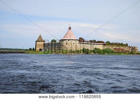 The fortress Oreshek closing the waterway of the Neva river. Leningrad region