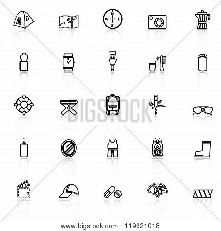 Camping Necessary Line Icons With Reflect On White Background