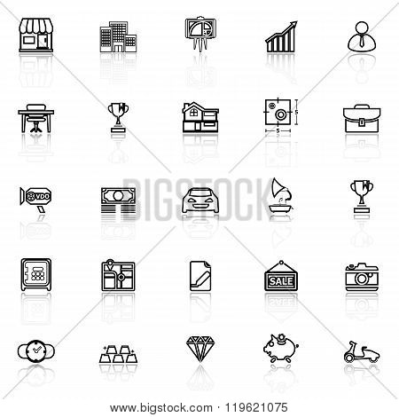 Asset And Property Line Icons With Reflect On White
