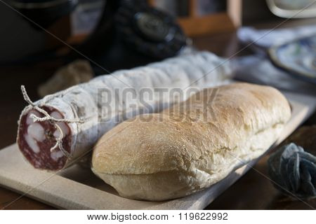 Bread And Salami For A Filled Roll