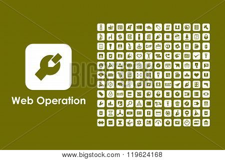 Set of web operation simple icons