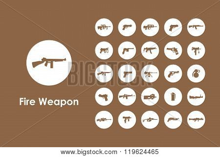 Set of firearms simple icons