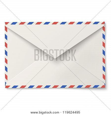 Slightly Open Air Mail White Envelope Isolated On White Background