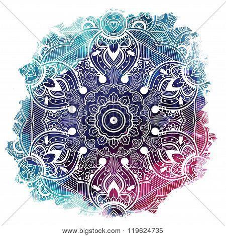 Paisley mandala over watercolor vector art.