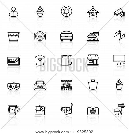 Franchisee Business Line Icons With Reflect On White