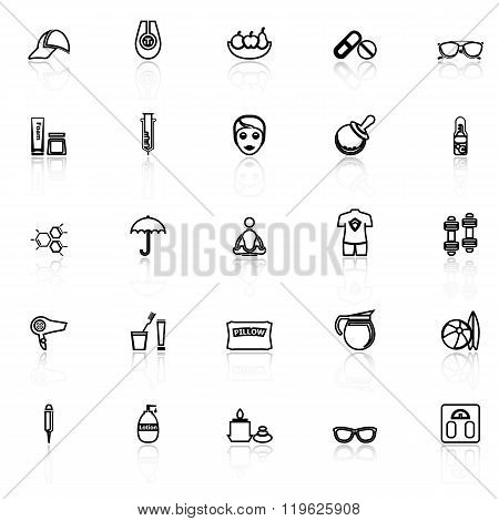 Facial And Body Treatment Line Icons With Reflect On White