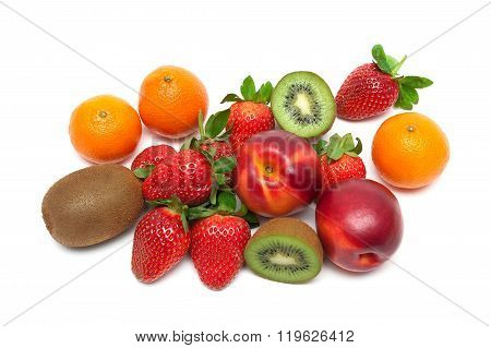 Fresh Ripe Fruits And Berries On A White Background