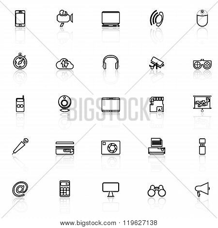 Gadget Line Icons With Reflect On White