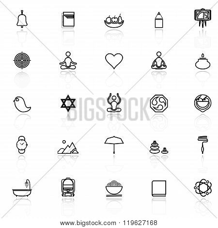 Zen Society Line Icons With Reflect On White