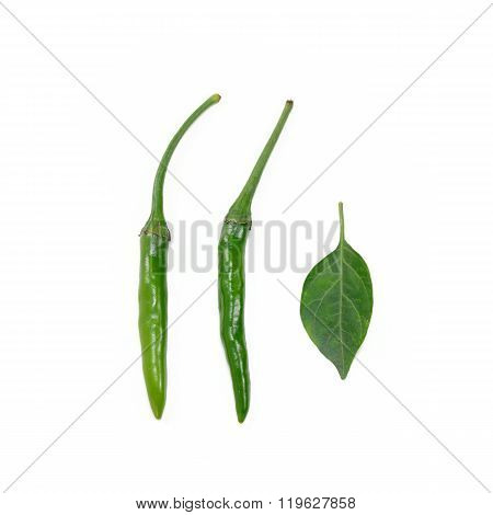 Fresh Chilli (bird's Eye Chili Pepper) Isolate On White Background