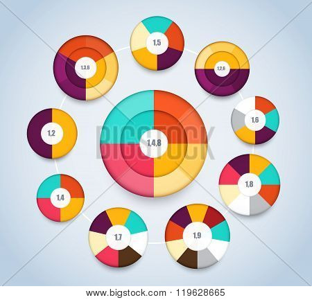 Multi Level Pie Chart Template For Presentation. Vector Illustration.