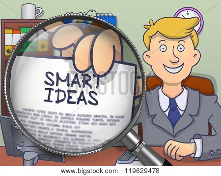 Smart Ideas through Magnifying Glass. Doodle Design.
