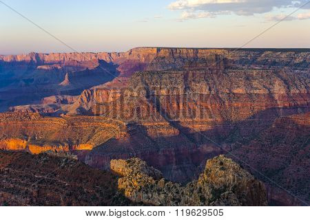 Colorful Sunset At Grand Canyon Seen From Mathers Point