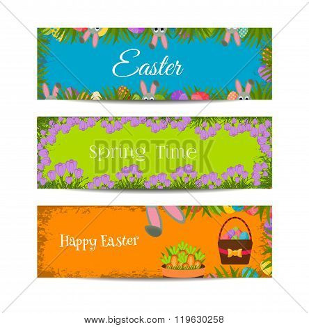 Happy Easter banners set with Colorful Eggs, Yellow Chick ,Crocus, Cake, Bunny Rabbit,Carrots,bouque