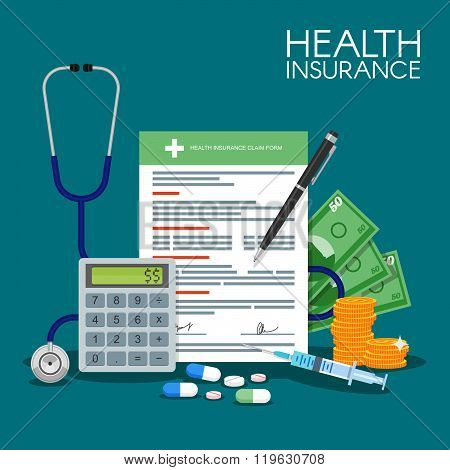Health insurance form concept vector illustration. Filling medical documents. Stethoscope, drugs, mo