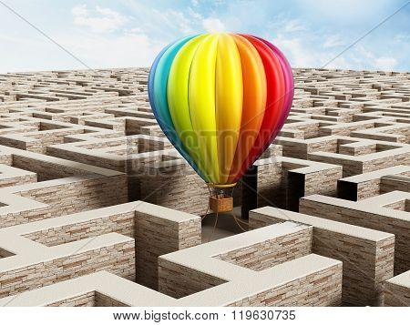 Hot Air Balloon On Labyrinth