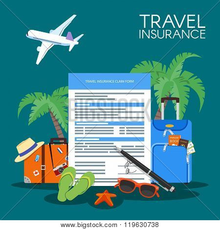Travel insurance form concept vector illustration. Vacation background, luggage, plane, palms