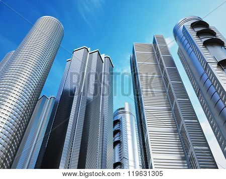Several tall skyscrapers on blue sky background.