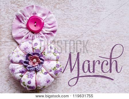 8 March Symbol. Figure Of Eight Made Of Buttons. Happy International Womens Day Design.