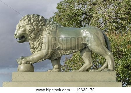 RUSSIA; SAINT-PETERSBURG - JULY 5 - Mooring with lions at the Admiralty (from the Palace Bridge) on July 5; 2015 in St. Petersburg