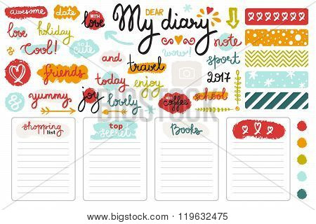 Vector Set Of Hand Drawn Sketch Elements And Words For Girl's Diary. Colorful Doodle Style.