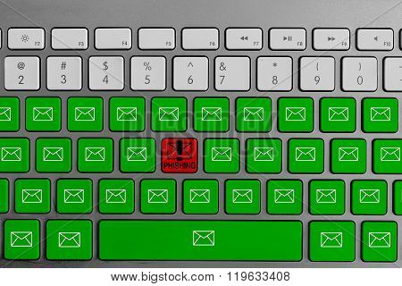 Computer keyboard with red phishing button surrounded with green email buttons