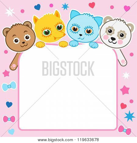 Nice Childish Cartoon Background. Baby Animals. Vector Kitten. Vector Panda. Vector Fox. Vector Bear. Sleeping Animals. Seamless Vector Pattern. Baby Animals Cute. Animals Pajama. At The Zoo.
