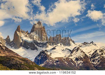 fitz roy mountain, mountains landscape, patagonia, glacier in mountains