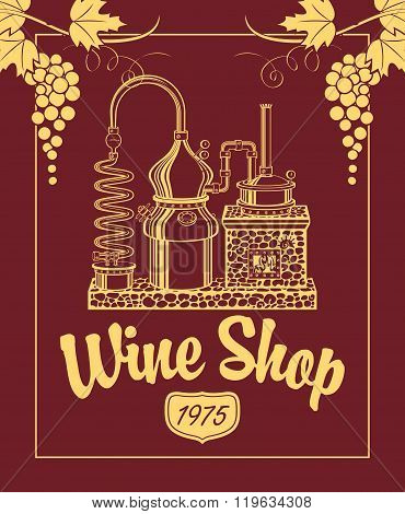 Sign For The Wine Shop