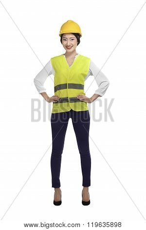 Asian Woman Wear Had Hat And Safety Vest