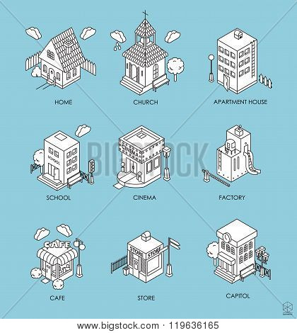 Set Of Isometric Buildings. Black And White Vector Illustration With Cinema,  Cottage, Church, Schoo