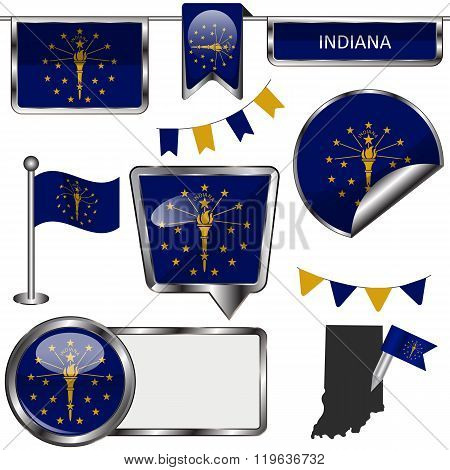 Glossy Icons With Flag Of State Indiana