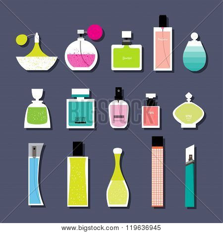 Set Of Vector Parfume. Vector Illustration For Parfume Shop