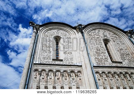 Wall With Patterns Orthodox Church Under A Blue Sky With Beautiful Clouds