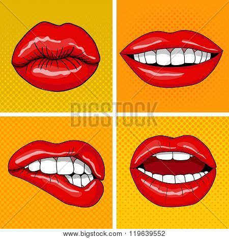 Lips Set In Retro Pop Art Style