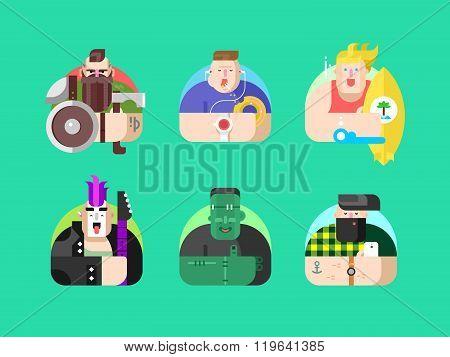 Set avatar design flat