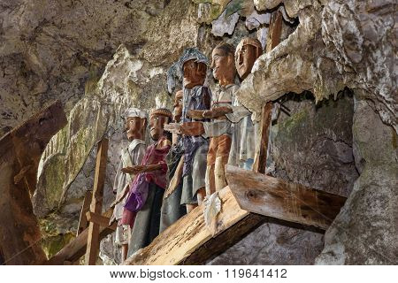 Wooden Statues Of Tau Tau In Tampangallo Burial Cave At Tana Toraja. Indonesia