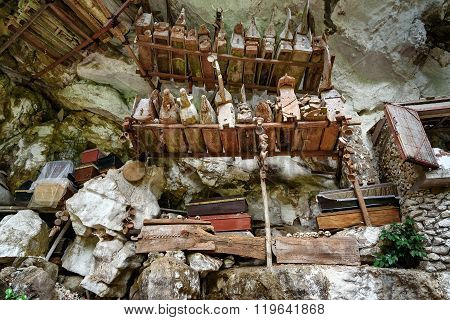 Collection Of Very Old Coffins In Londa. Tana Toraja, South Sulawesi, Indonesia