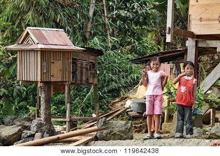 Indonesian Girls On The Street Of Lempo Village In Tana Toraja