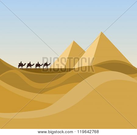 Landscape With Desert And Caravan
