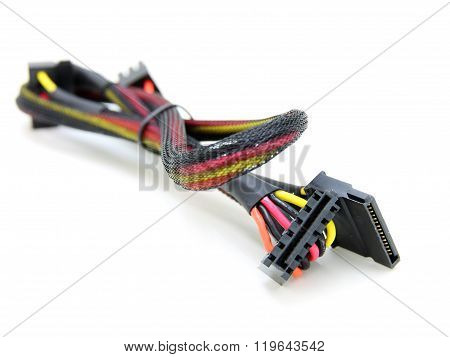 Hard disk drive power cables with electronic cable