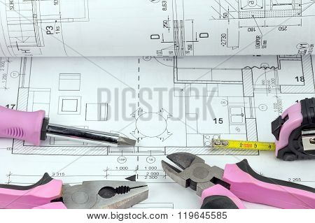 Homework Tools With Pink Design On The Blueprint