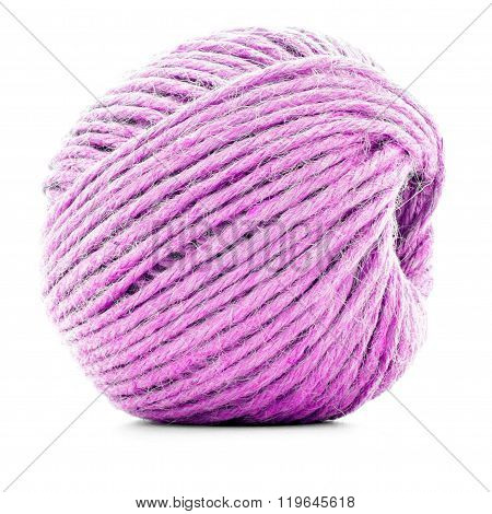 Pink Braided Skein, Sewing Yarn Ball Isolated On White Background