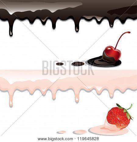 Yogurts and berries