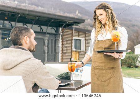 Seductive Waitress Bring Aperitif To The Customer