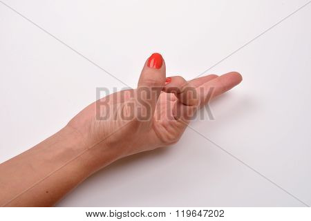 Female Hand Is Showing Ok Sign Isolated On A White Background