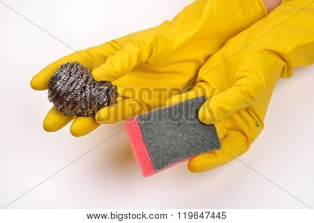 Women Protecting Hands With Rubber Gloves From Detergents And Holding Silver Kitchen Scraper And Spo