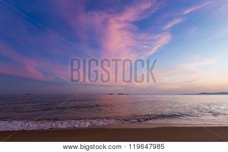Beautiful sky after sunset over the beach